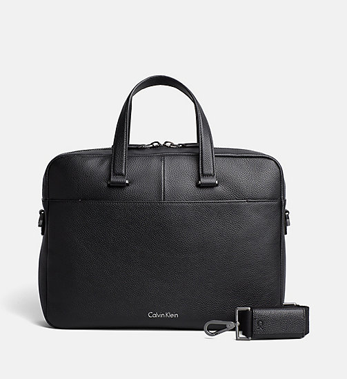 CALVINKLEIN Leather Slim Laptop Bag - BLACK - CALVIN KLEIN BACK IN BUSINESS - main image