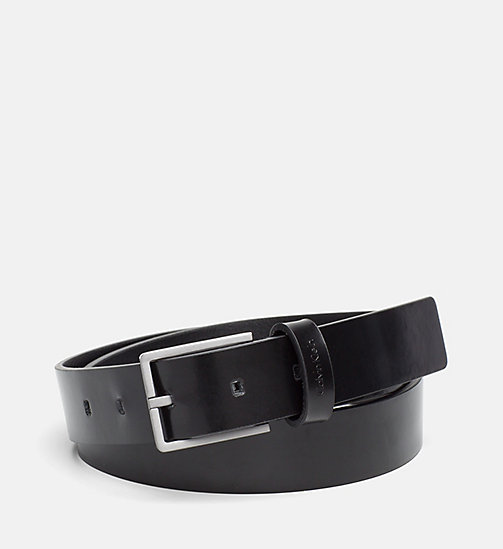 CALVINKLEIN Slim Leather Belt - BLACK - CALVIN KLEIN BELTS - main image