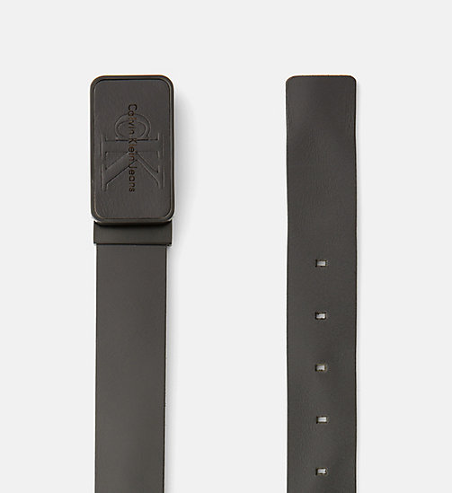 CALVIN KLEIN JEANS Leather Plaque Belt - BLACK - CALVIN KLEIN JEANS BELTS - detail image 1