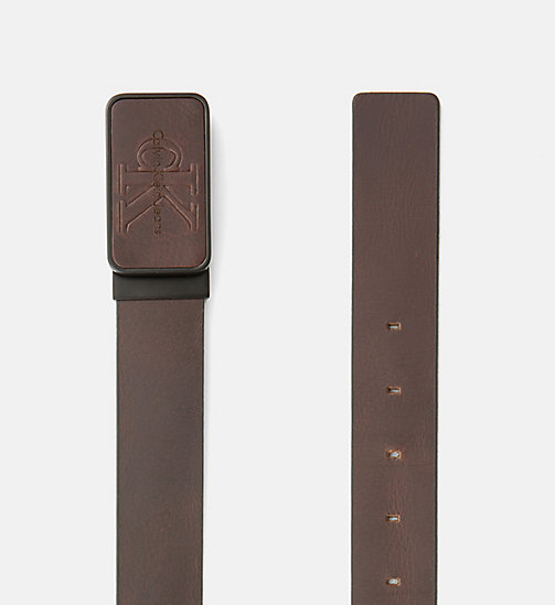 CALVIN KLEIN JEANS Leather Plaque Belt - UNIHIBITED - CALVIN KLEIN JEANS BELTS - detail image 1