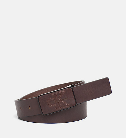 CALVIN KLEIN JEANS Leather Plaque Belt - UNIHIBITED - CALVIN KLEIN JEANS SHOES & ACCESSORIES - main image