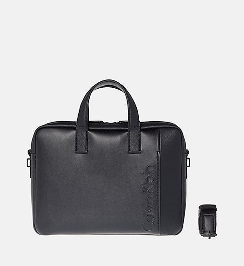 CALVINKLEIN Slim Laptop Bag - BLACK - CALVIN KLEIN MODERN MENSWEAR - main image