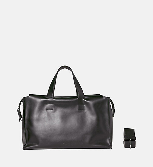 CALVINKLEIN Leather Duffle Bag - BLACK - CALVIN KLEIN WEEKEND BAGS - main image