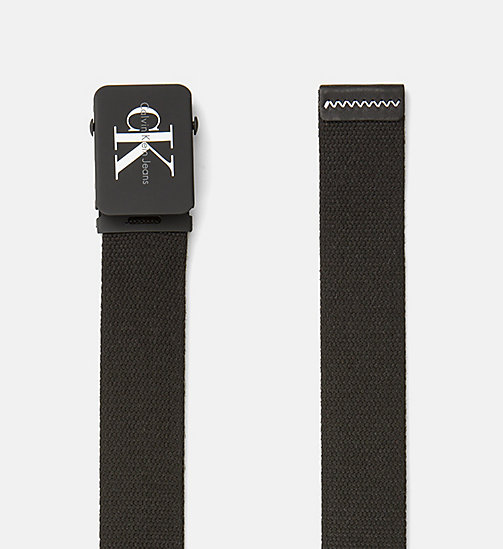 CALVIN KLEIN JEANS Canvas Plaque Belt - BLACK - CALVIN KLEIN JEANS BELTS - detail image 1