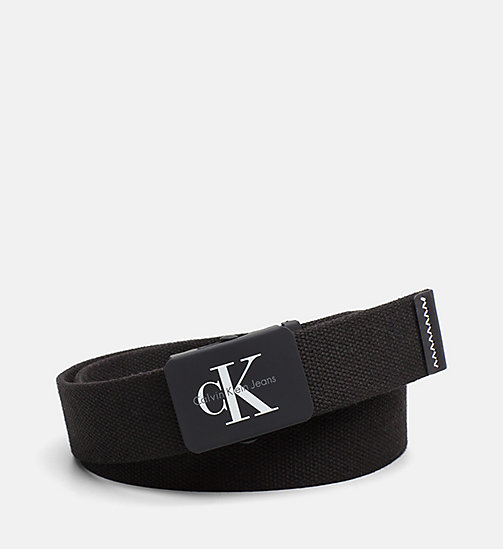 CALVIN KLEIN JEANS Canvas Plaque Belt - BLACK - CALVIN KLEIN JEANS BELTS - main image