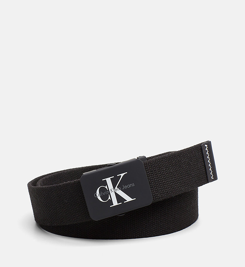 CALVIN KLEIN JEANS Canvas Plaque Belt - BLUE DEPTHS - CALVIN KLEIN JEANS MEN - main image