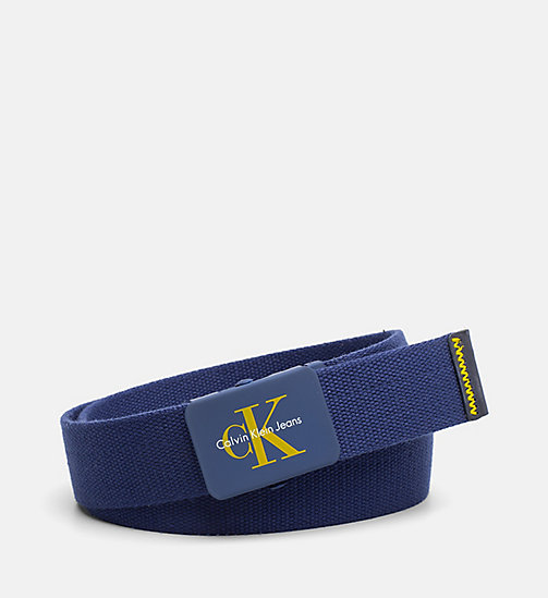 CALVIN KLEIN JEANS Canvas Plaque Belt - BLUE DEPTHS - CALVIN KLEIN JEANS HEAT WAVE - main image