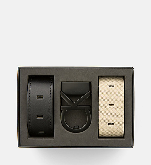 CALVINKLEIN Two Straps Belt Gift Set - BLACK/CEMENT - CALVIN KLEIN GIFTS - main image