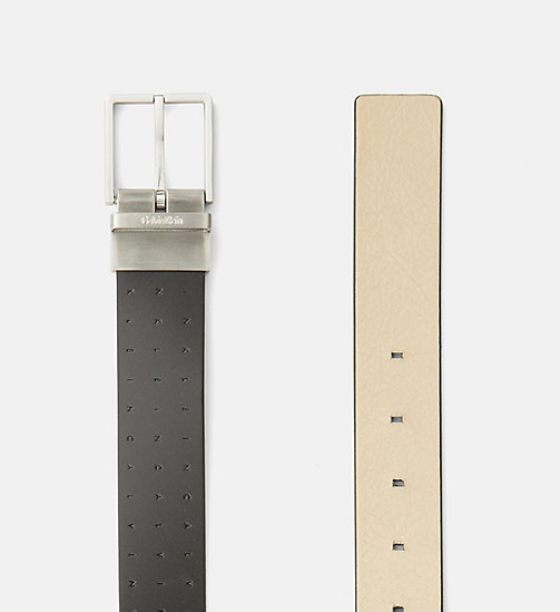 CALVINKLEIN Reversible Leather Logo Belt - BLACK & CEMENT - CALVIN KLEIN BELTS - detail image 1