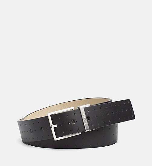 CALVINKLEIN Reversible Leather Logo Belt - BLACK & CEMENT - CALVIN KLEIN BELTS - main image