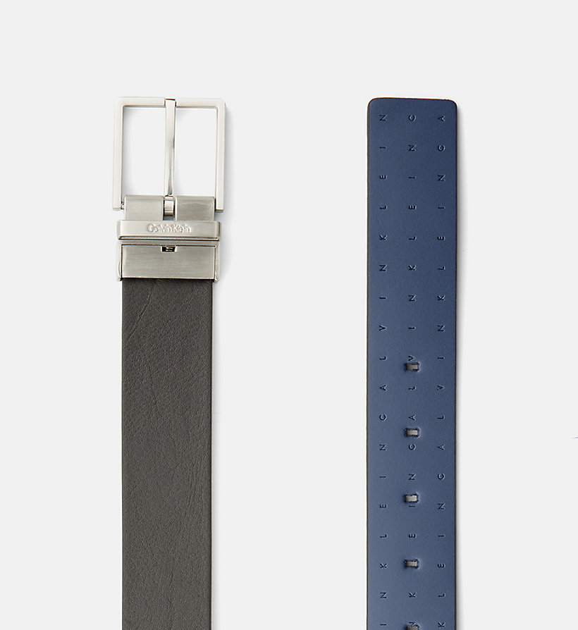 CALVINKLEIN Reversible Leather Logo Belt - BLACK/CEMENT - CALVIN KLEIN MEN - detail image 1
