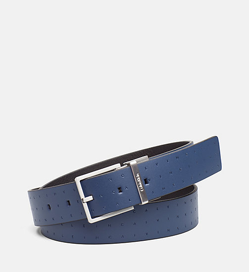 CALVINKLEIN Reversible Leather Logo Belt - NAVY/BLACK - CALVIN KLEIN SHOES & ACCESSORIES - main image