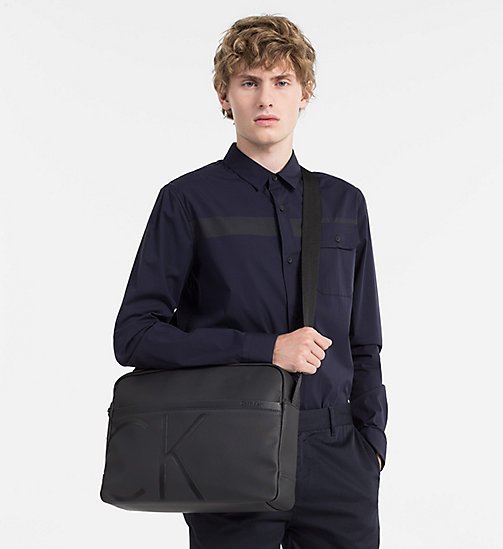 CALVINKLEIN Coated Canvas Messenger Bag - BLACK - CALVIN KLEIN MESSENGER BAGS - detail image 1