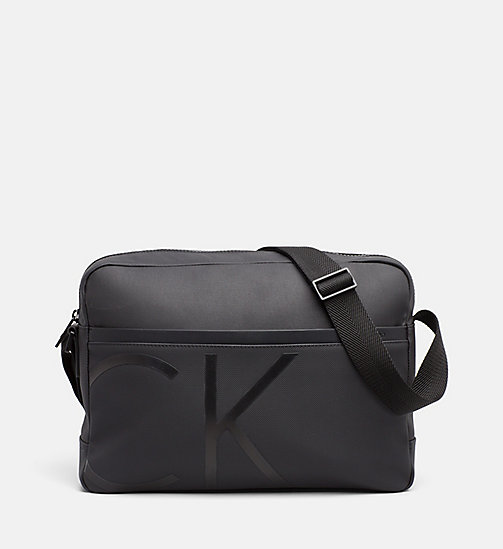 CALVINKLEIN Coated Canvas Messenger Bag - BLACK - CALVIN KLEIN MESSENGER BAGS - main image