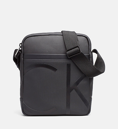 CALVINKLEIN Coated Canvas Reporter Bag - BLACK - CALVIN KLEIN REPORTER BAGS - main image