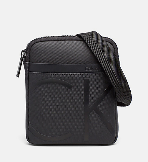 CALVINKLEIN Coated Canvas Mini Flat Crossover - BLACK - CALVIN KLEIN BAGS & ACCESSORIES - main image