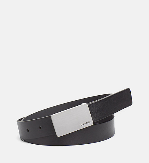CALVINKLEIN Leather Plaque Belt - BLACK - CALVIN KLEIN BAGS & ACCESSORIES - main image