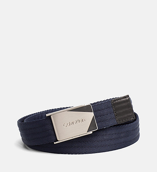 CALVINKLEIN Webbing Plaque Belt - NAVY - CALVIN KLEIN SHOES & ACCESSORIES - main image