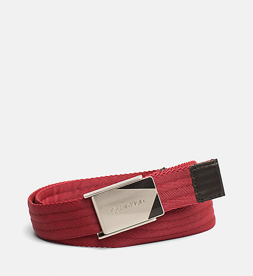 CALVINKLEIN Webbing Plaque Belt - DARK RED - CALVIN KLEIN SHOES & ACCESSORIES - main image