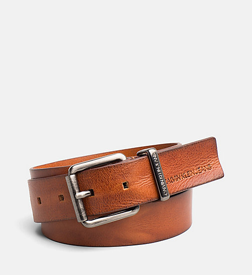CALVIN KLEIN JEANS Leather Belt - COGNAC - CALVIN KLEIN JEANS SHOES & ACCESSORIES - main image