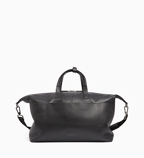 CALVINKLEIN Leather Weekend Bag - BLACK - CALVIN KLEIN CALVIN KLEIN MENSWEAR - main image