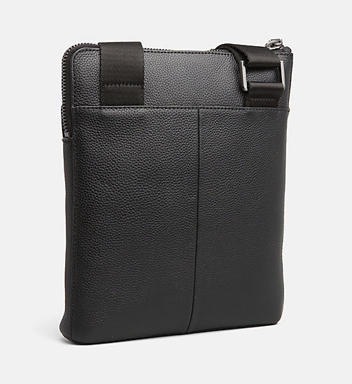 CALVIN KLEIN Leather iPad Cross Body Bag - BLACK - CALVIN KLEIN CALVIN KLEIN MENSWEAR - detail image 1