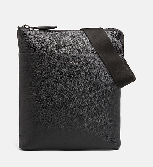 CALVIN KLEIN Leather iPad Cross Body Bag - BLACK - CALVIN KLEIN CALVIN KLEIN MENSWEAR - main image