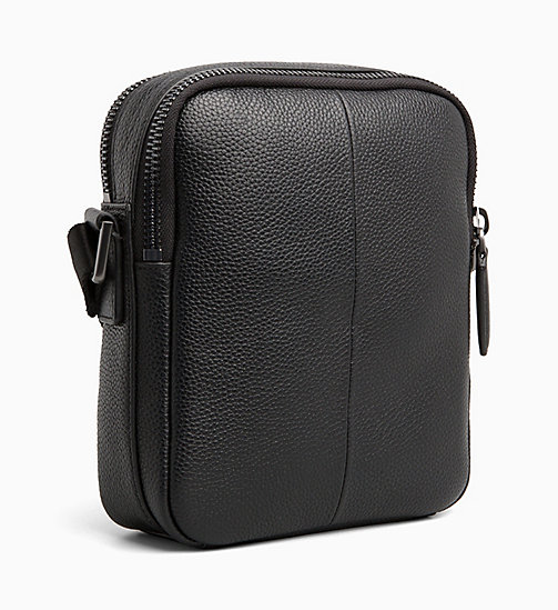 CALVIN KLEIN Leather iPad Reporter Bag - BLACK - CALVIN KLEIN CALVIN KLEIN MENSWEAR - detail image 1