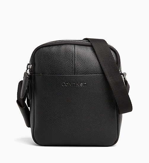 CALVIN KLEIN Leather iPad Reporter Bag - BLACK - CALVIN KLEIN CALVIN KLEIN MENSWEAR - main image