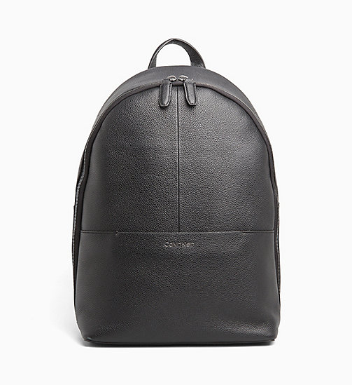 CALVIN KLEIN Leather Round Backpack - BLACK - CALVIN KLEIN CALVIN KLEIN MENSWEAR - main image