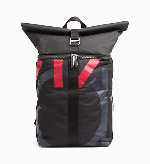 CALVINKLEIN Roll Top Backpack - BLACK/NIGHTSCAPE/ROUGE - CALVIN KLEIN BACKPACKS - main image
