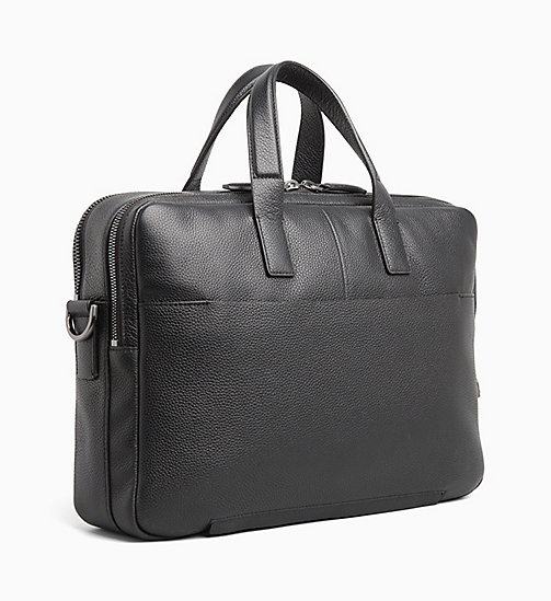 CALVINKLEIN Leather Laptop Bag - BLACK - CALVIN KLEIN INVEST IN COLOUR - detail image 1