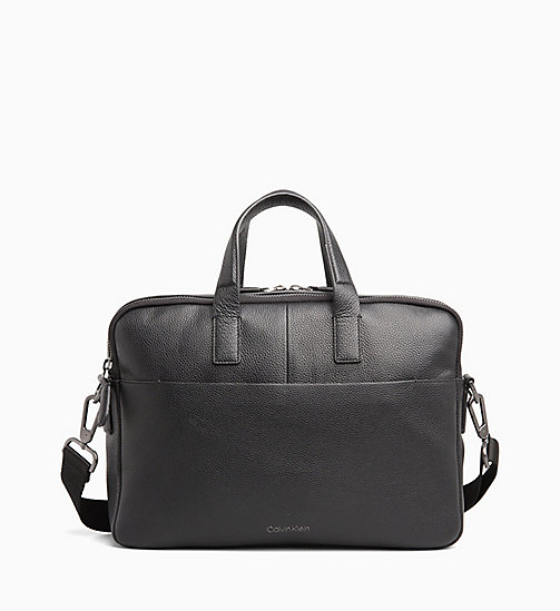CALVIN KLEIN Leather Laptop Bag - BLACK - CALVIN KLEIN CALVIN KLEIN MENSWEAR - main image