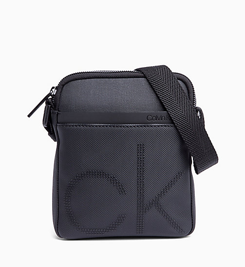CALVIN KLEIN Coated Canvas Mini Reporter Bag - BLACK - CALVIN KLEIN REPORTER BAGS - main image