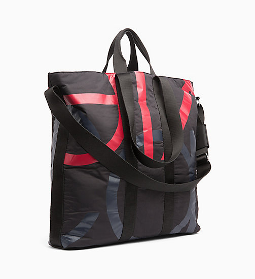 CALVINKLEIN Logo Large Tote Bag - BLACK/NIGHTSCAPE/ROUGE - CALVIN KLEIN WEEKEND BAGS - detail image 1