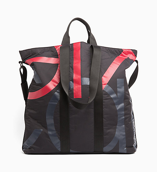 CALVINKLEIN Logo Large Tote Bag - BLACK/NIGHTSCAPE/ROUGE - CALVIN KLEIN WEEKEND BAGS - main image