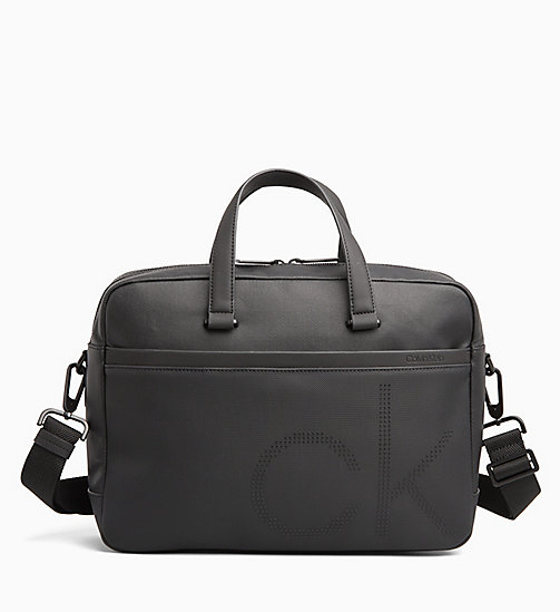 CALVIN KLEIN Coated Canvas Laptop Bag - BLACK - CALVIN KLEIN LAPTOP BAGS - main image
