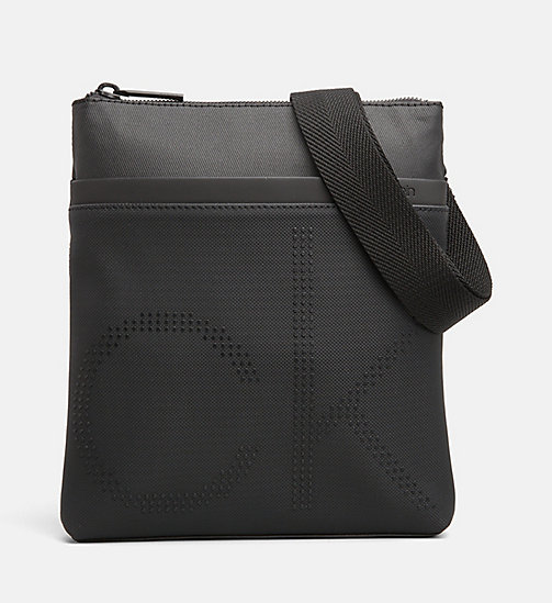 CALVINKLEIN Coated Canvas Flat Cross Body Bag - BLACK - CALVIN KLEIN CROSSOVER BAGS - main image