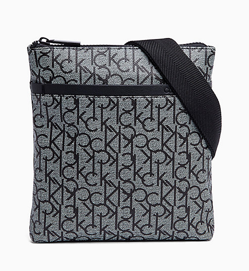 CALVINKLEIN Logo Flat Cross Body Bag - GRANITE MONOGRAM - CALVIN KLEIN LOGO SHOP - main image