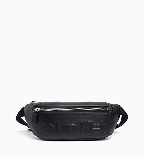 CALVIN KLEIN Leather Bum Bag - BLACK - CALVIN KLEIN BOLD GRAPHICS - main image