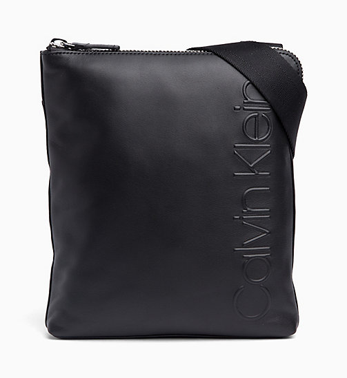 CALVINKLEIN Flat Leather Cross Body Bag - BLACK - CALVIN KLEIN LAPTOP BAGS - main image