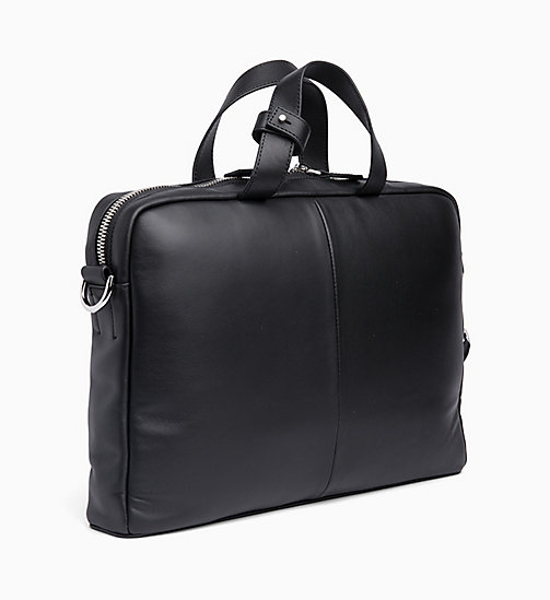 CALVIN KLEIN Slim Leather Laptop Bag - BLACK - CALVIN KLEIN LAPTOP BAGS - detail image 1