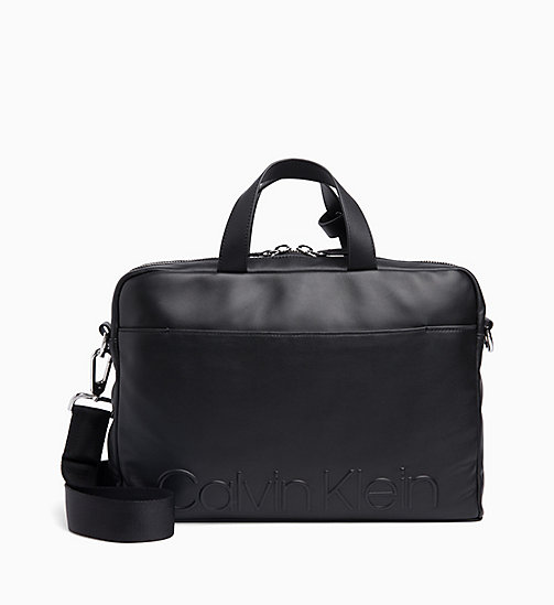 CALVIN KLEIN Slim Leather Laptop Bag - BLACK - CALVIN KLEIN LAPTOP BAGS - main image
