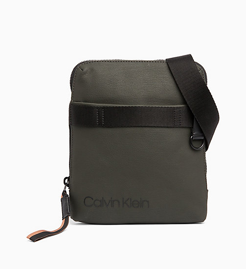CALVIN KLEIN Coated Canvas Flat Cross Body Bag - GREYSTONE /RUSTED BRICK - CALVIN KLEIN BAGS - main image