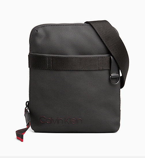 CALVINKLEIN Coated Canvas Flat Cross Body Bag - BLACK / ROUGE - CALVIN KLEIN CROSSOVER BAGS - main image