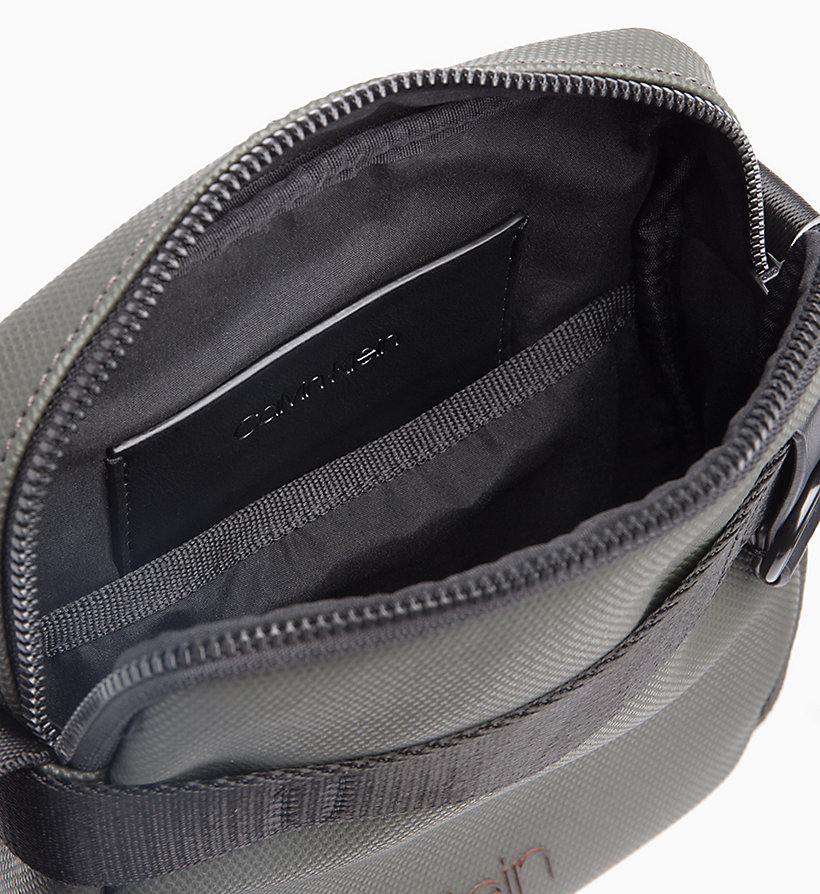 CALVINKLEIN Coated Canvas Mini Reporter Bag - BLACK / ROUGE - CALVIN KLEIN MEN - detail image 2