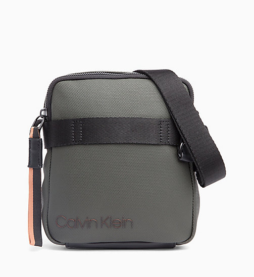 CALVIN KLEIN Coated Canvas Mini Reporter Bag - GREYSTONE /RUSTED BRICK - CALVIN KLEIN BAGS - main image
