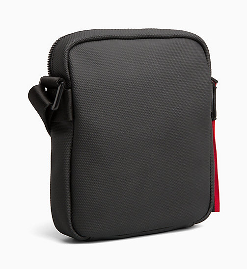CALVIN KLEIN Coated Canvas Mini Reporter Bag - BLACK /ROUGE - CALVIN KLEIN BAGS - detail image 1