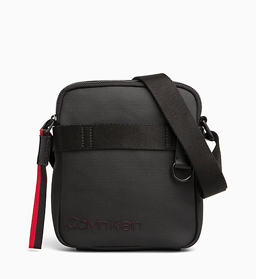 CALVIN KLEIN Coated Canvas Mini Reporter Bag - BLACK / ROUGE - CALVIN KLEIN BAGS - main image