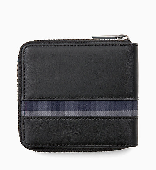 CALVINKLEIN Square Leather Zip-Around Wallet - BLACK / NAVY / STEEL GREYSTONE - CALVIN KLEIN WALLETS & SMALL ACCESSORIES - detail image 1